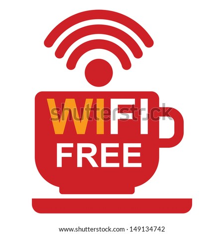 Internet Hotspot, Internet Cafe or Technology Concept Present By Red Coffee Cup With Wifi Free Sign Inside Isolated on White Background - stock photo