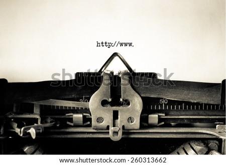 Internet HTTP URL typed on vintage typewriter - stock photo