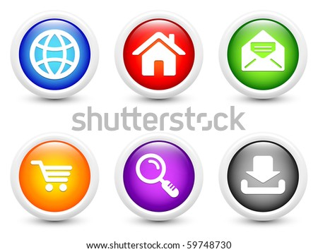 Internet Icon on Simple Round Button Collection Original Illustration - stock photo