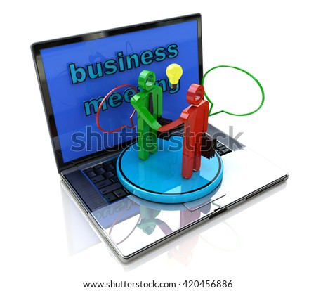 internet meeting of businessmen in the design of access to information relating to the business and contracts. 3d illustration - stock photo