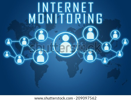 Internet Monitoring concept on blue background with world map and social icons. - stock photo