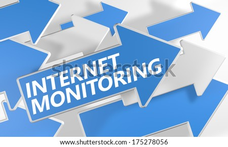 Internet Monitoring 3d render concept with blue and white arrows flying over a white background. - stock photo