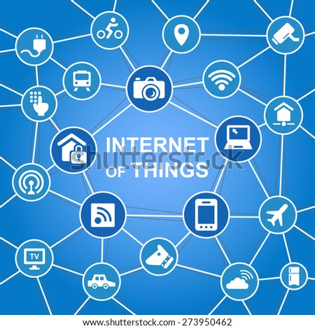 Internet of things concept with icons - stock photo