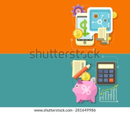 Internet online banking. Money exchange m banking. Accounting with digitial caculator. Financial management concept with item icons graph, pig, calculator, document page in flat design. Raster version - stock photo