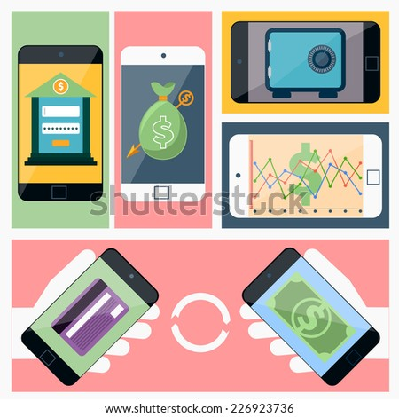 Internet online banking. Smartphone with site of bank where enter a password to login to profile at bank flat design style. Money exchange. Raster version - stock photo