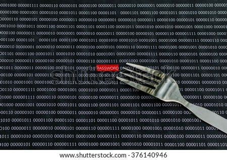 Internet password security concept hacker take the word password using fork from a digital screen