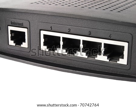 Internet port and four LAN ports - stock photo