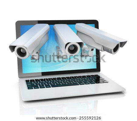Internet privacy concept - laptop and surveillance camera - stock photo
