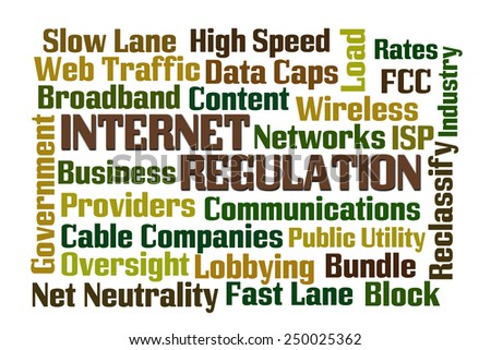 Internet Regulation word cloud with white background - stock photo