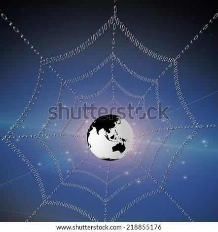 Internet represented by web of binary Elements of this image furnished by NASA - stock photo