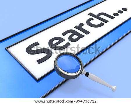 Internet Search Concept. Browser with search and magnifying glass in the design of the information in their search for information on the Internet - stock photo
