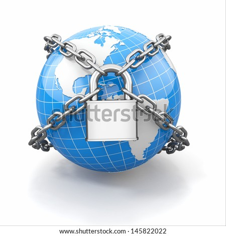 Internet security comcept. Earth and lock on white isolated background. 3d - stock photo