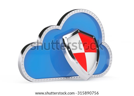 Internet Security Concept. 3d Cloud with Protection Shield on a white background - stock photo