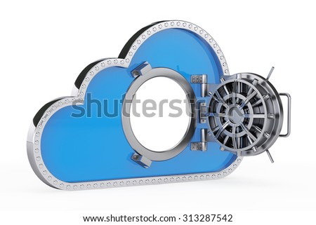 Internet Security Concept. 3d Cloud with Safe Door on a white background - stock photo