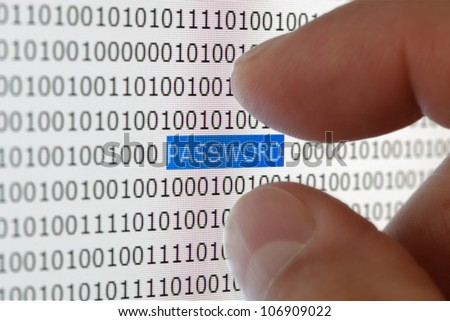 Internet security concept hacker taking the word password from a digital tablet screen - stock photo