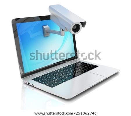 Internet security concept - laptop and surveillance camera - stock photo