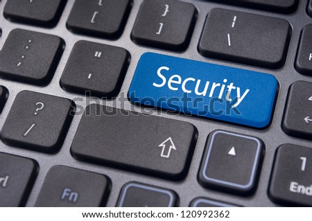 internet security for computer, with message on enter key of keyboard. - stock photo