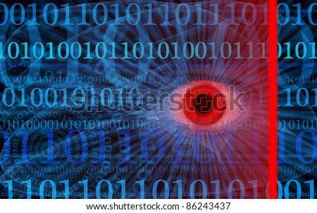 Internet security illustration with human eye, scanning laser and binaries - stock photo
