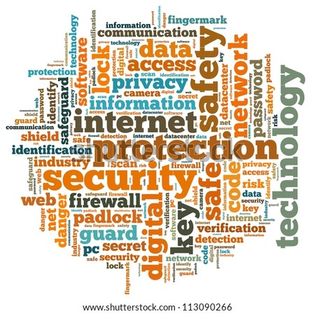 Internet security info-text graphics and arrangement concept on white background (word cloud) - stock photo