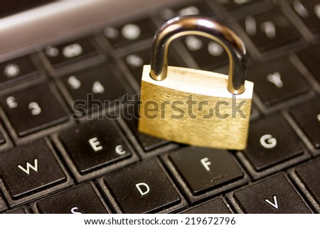 Internet security -  Keyboard and lock - stock photo