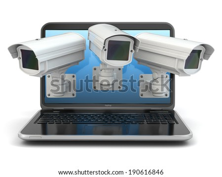 Internet security. Laptop and CCTV on white isolated background. 3d - stock photo