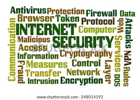 Internet Security word cloud on white background - stock photo