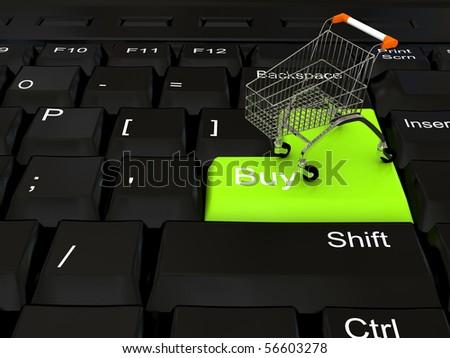 Internet shop concept. 3d rendered image - stock photo
