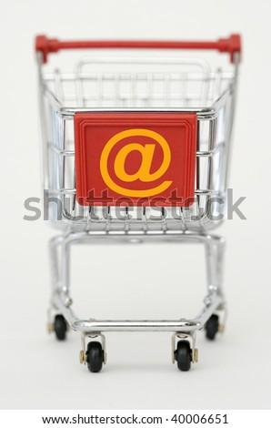 Internet- Shopping cart isolated on white background - stock photo