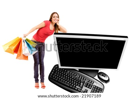 Internet shopping concept by woman lean on computer. - stock photo