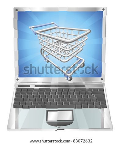 Internet shopping laptop concept illustration. Shopping cart flying out of laptop screen
