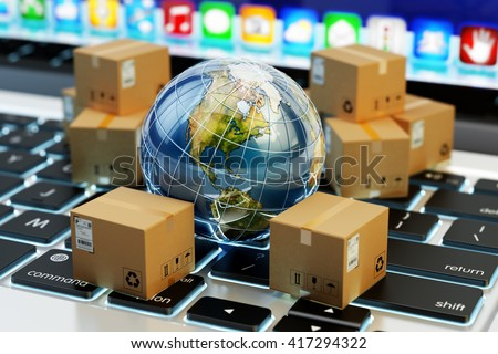 Internet shopping, online purchases, e-commerce, package delivery concept, global transportation business, stack of cardboard boxes and Earth globe on computer, 3d illustration (Elements by NASA)