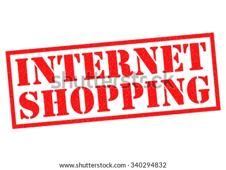 INTERNET SHOPPING red Rubber Stamp over a white background. - stock photo