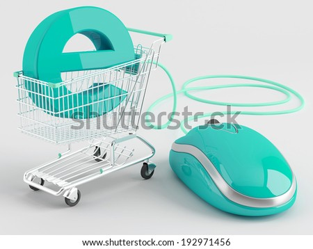 Internet shopping. Shopping carts operated green computer mouse - the symbol of e-commerce  - stock photo