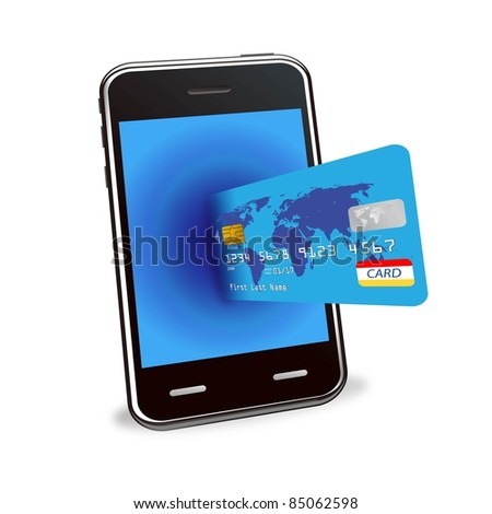 internet shopping with smart phone and credit card - stock photo