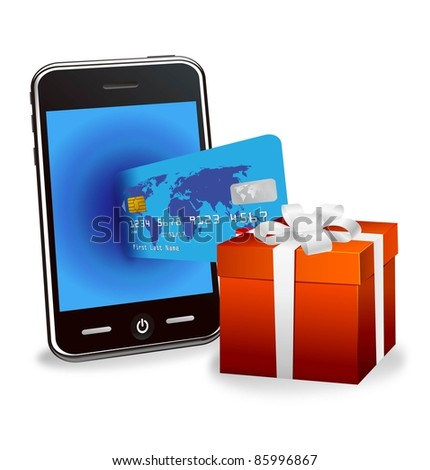 internet shopping with smart phone and credit card