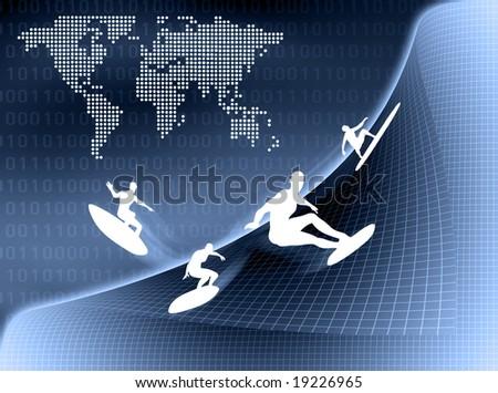 Internet Surfer surfing in virtual world. - stock photo