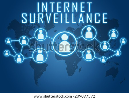 Internet Surveillance concept on blue background with world map and social icons. - stock photo