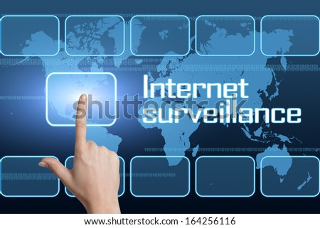 Internet surveillance concept with interface and world map on blue background - stock photo