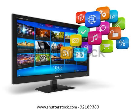 Internet television concept: widescreen TV with streaming video gallery and cloud of application icons isolated on white background