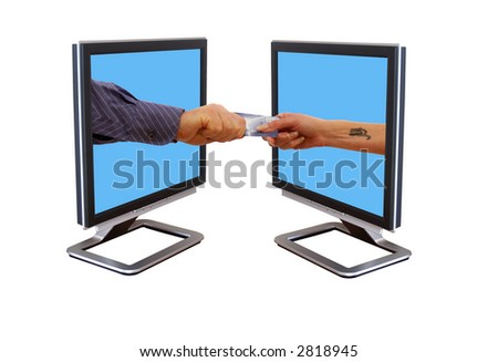 Internet trading couple using a credit card - stock photo