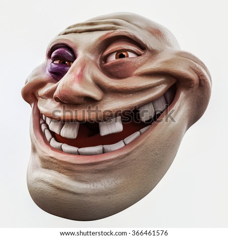 Internet troll head with bruise 3d illustration isolated