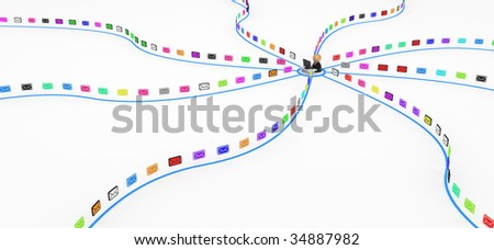 Internet User Receiving email messages, 3d, isolated - stock photo