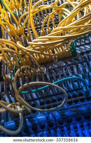 Internet wires in server - stock photo
