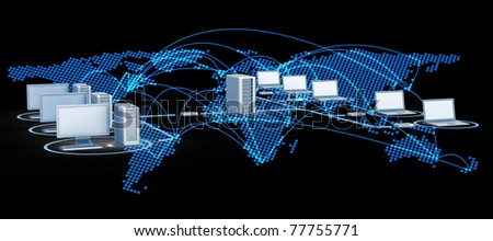 Internet world. 3d render image - stock photo