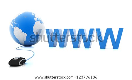 Internet World Wide Web Concept, Earth globe with computer mouse  on white background - stock photo