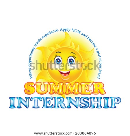 Interns wanted label / sticker for print.Printable sticker / Label Summer Internship, for recruitment companies / employers that are looking for seasonal employees. Contains a cute cartooned sun.  - stock photo