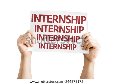 Internship card isolated on white background - stock photo