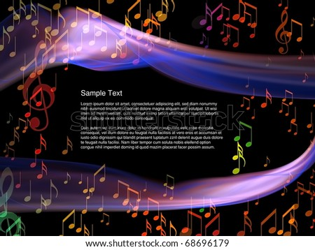 Interplay of abstract forms and musical symbols on the subject of music, performance,  light, space and movement - stock photo
