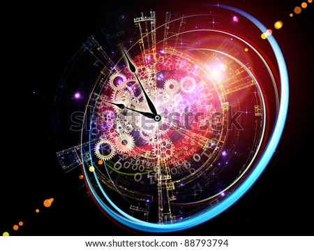 Interplay of clock elements, digits, lights and abstract graphics on the subject of time, digital technology, progress, past, present and future - stock photo