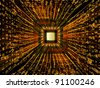 Interplay of CPU graphic, colors and abstract technological elements on the subject of digital technologies, computers and information processing - stock photo